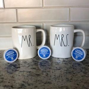 Rae Dunn Mrs & Mr coffee cups